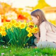 Adorable little girl playing with flowers in the park at sunset, smelling daffodils — Stock Photo #70019545