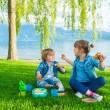 Two cute kids, little girl and her brother, having a picnic outdoors by the lake — Stock Photo #70531941