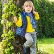 Charming young 4 years old boy posing in front of a tree dressed in colorful clothes — Stock Photo #71820833
