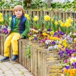 Spring outdoor portrait of a cute little boy, wearing colorful clothes — Stock Photo #74113193