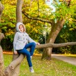 Autumn portrait of a cute little girl playing on a tree in a beautiful park on a nice sunny day — Stock Photo #78488112