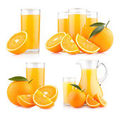 Fresh orange juices with ripe oranges — Foto de Stock