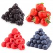Raspberries, blackberries strawberries and blueberries — Stock Photo #55699379
