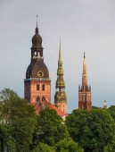 Old churches in Riga — Stock Photo