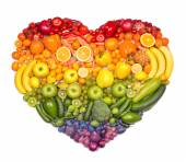 Heart of fruits and vegetables — Stock Photo