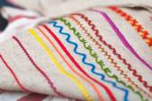 Patterns on the fabric, hand embroidery — Stock Photo