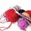 Colored woolen yarns and knitting  — Stock Photo #59675011