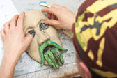 Sculpting plasticine face — Stock Photo