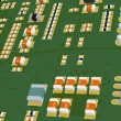 Printed Circuit Board green with resistors and capacitors — Stock Photo #69131741
