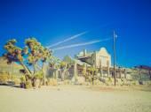 Retro look Railway station ruins in Rhyolite — Stock Photo