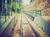 Retro look Funicular de Montjuic — Zdjęcie stockowe