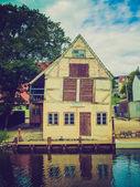 Retro look Aarhus Old Town in Denmark — Stock Photo