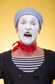 Portrait of scared mime — Stock Photo