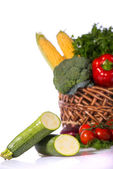 Lovely basket with fresh vegetables — Zdjęcie stockowe