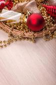 Christmas toys  on wooden table — ストック写真