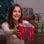 Beautiful girl pending Christmas — Stock Photo #57567669