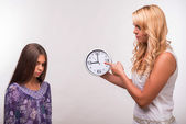 Young mother and teenager daughter — Stock Photo