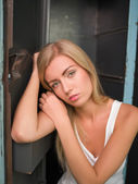 Beautiful blond girl expresses different emotions — Stock Photo