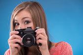 Girl  with photo camera — Stock Photo