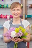Florist work with flowers — Stock Photo