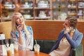 Social media in women shopping — Stock Photo