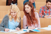 Female students study at college — Stock Photo