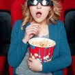 Amazed woman in glasses eating popcorn — Stock Photo #71915223