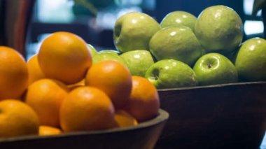 Fresh ripe fruits in restaurant kitchen — Vídeo de stock