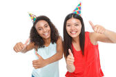 Positive ladies having birthday party — Stock Photo