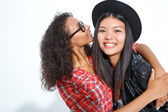 Laughing best friends hugging  — Stock Photo