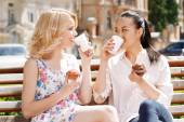 Two girlfriends in park with coffee and cupcakes — Stock Photo