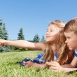 Pleasant children looking aside on blanket — Stock Photo #76542029