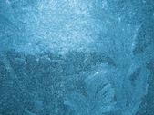 Blue Ice on a window — Stock Photo