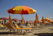 Beach chairs and umbrellas — Стоковое фото