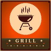 Retro Grill Menu Card Design template poster — Stock Vector