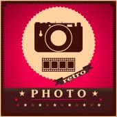 Photography camera and film retro poster — Stock Vector