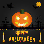 Happy Halloween vector card. Art illustration — Stock Vector