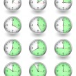 Twelve clocks showing different time on white — 图库矢量图片