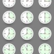 Twelve clocks showing different time. Vector — Wektor stockowy