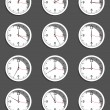 Clocks showing different time. Vector — Wektor stockowy
