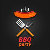 BBQ party invitation. Vector illustration poster — Stock Vector