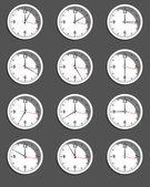 Clocks showing different time. Vector — Stock Vector