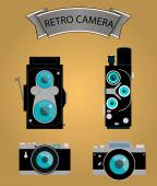 Photo camera icons set in flat style. vector — Wektor stockowy