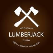 Card of vintage lumberjack label, emblem — Stockvektor