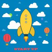Yellow rocket and white cloud, icon in flat — Stock Vector