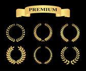 Set of golden silhouette circular laurel foliate — Stock Vector