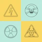 Flat thin line vector warning signs, symbols. — Stock Vector