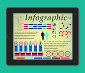 Infographics on the tablet. Elements Set Man and Woman. Vector illustration EPS10. — Stock Vector