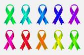 Set of colorful awareness ribbons isolated on white background. Vector illustration eps10. — Wektor stockowy