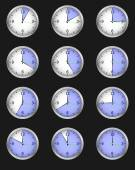 Set of twelve alarms indicating different times — Stok Vektör